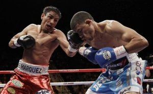 Mexico's Rafael Marquez, left, lands a punch on Puerto Rico's Juan Manuel Lopez during the WBO featherweight title fight Saturday, Nov. 6, 2010, in Las Vegas. Lopez won when Marquez forfeited after the eighth round due to a shoulder injury. (AP Photo/Julie Jacobson)