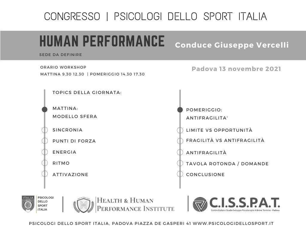 Congresso Human Performance Giuseppe Vercelli Psicologi dello Sport Italia